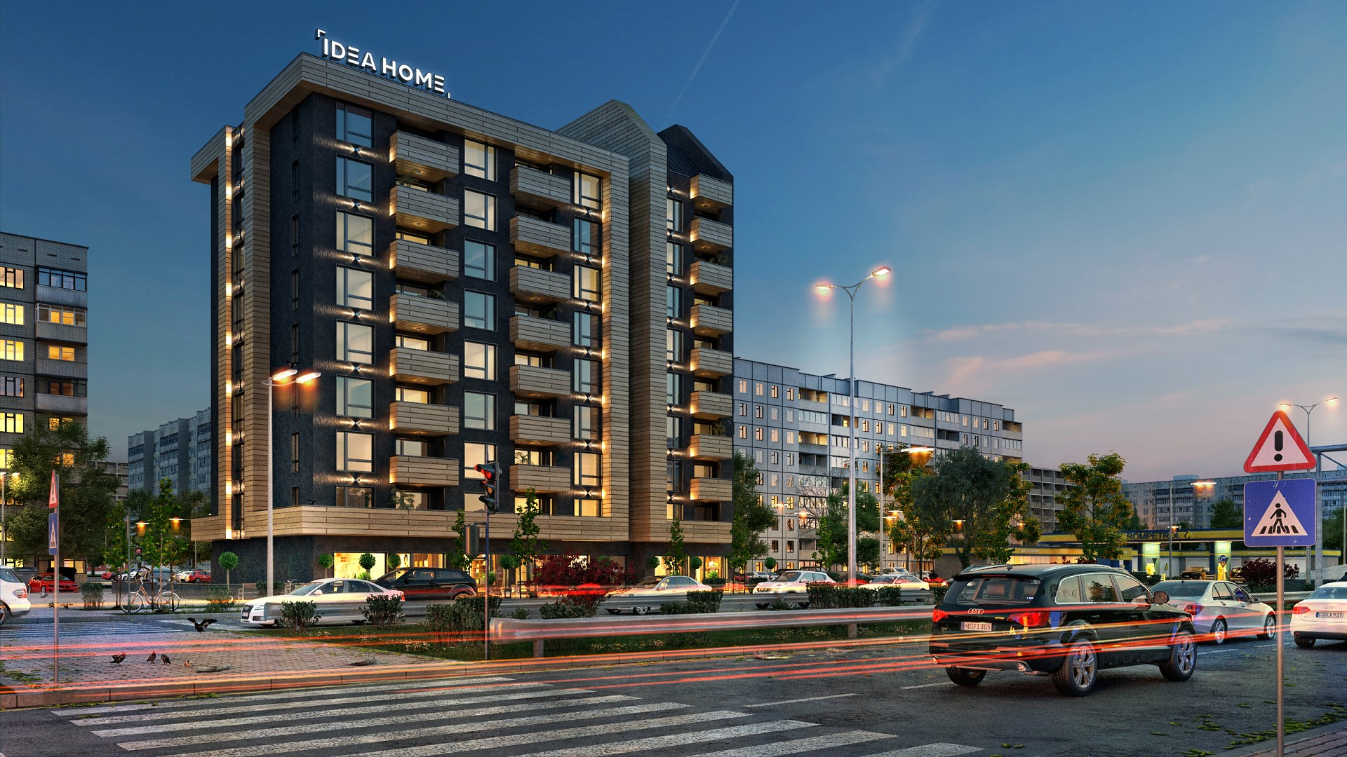 """Night visualization of the building """"Sofia"""""""